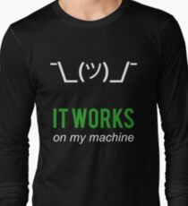 Shrug it works on my machine - Programmer Excuse Design - White/Green Text T-Shirt