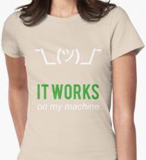 Shrug it works on my machine - Programmer Excuse Design - White/Green Text T-Shirt