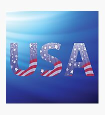 USA capital letters with flag pattern Photographic Print