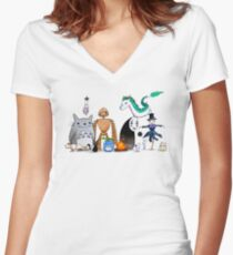 Ghibli Friends  Women's Fitted V-Neck T-Shirt