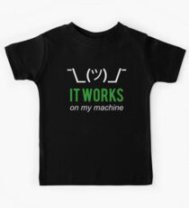 It works on my machine - Programmer Excuse - White/Green Text Design Kids Tee