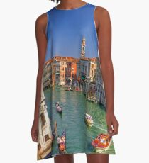 Light Traffic on the Grand Canal A-Line Dress