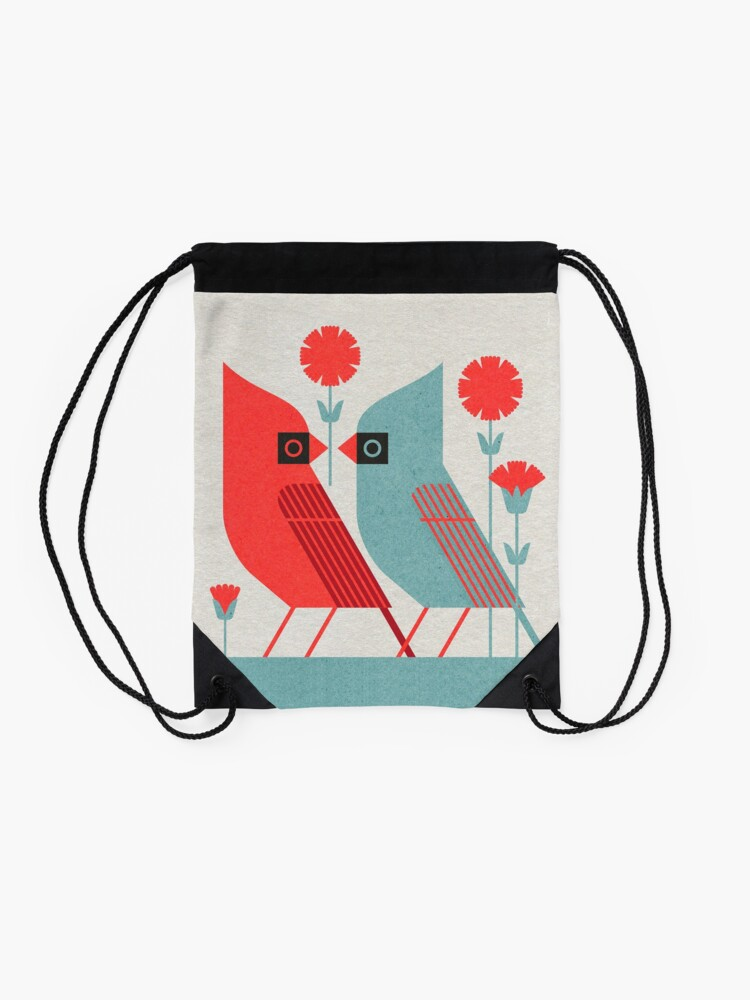 Alternate view of Cardinals and Carnations  Drawstring Bag