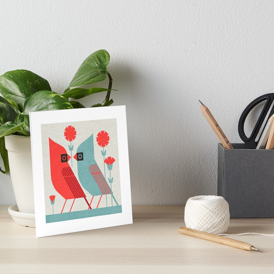 Cardinals and Carnations  Art Board Print