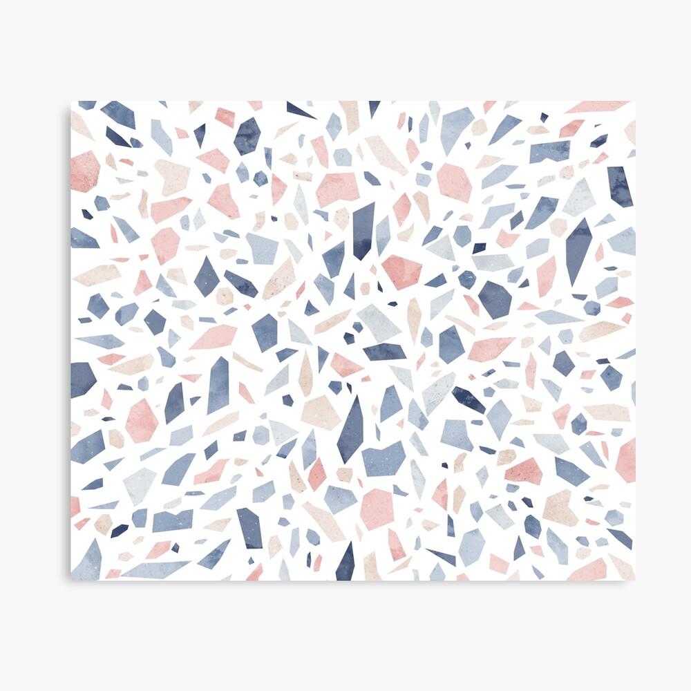 Terrazzo vintage pastel blue pink Canvas Print