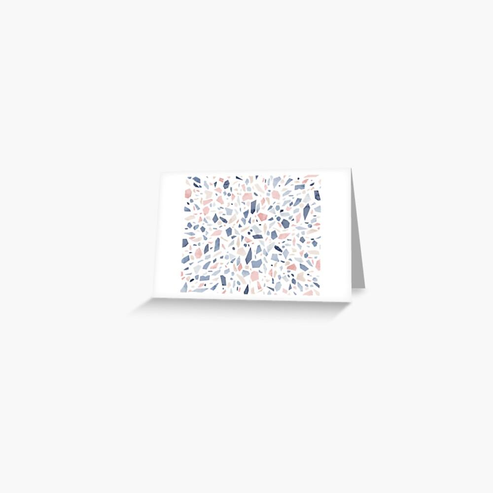 Terrazzo vintage pastel blue pink Greeting Card