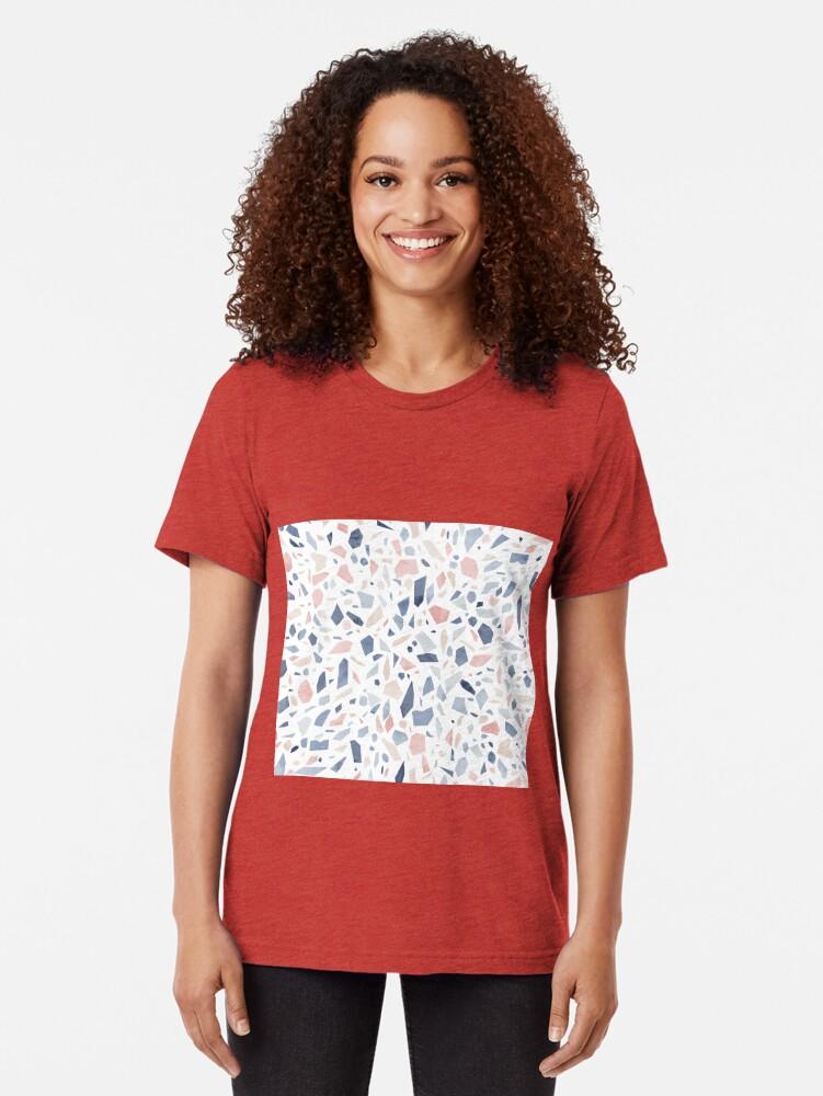Alternate view of Terrazzo vintage pastel blue pink Tri-blend T-Shirt