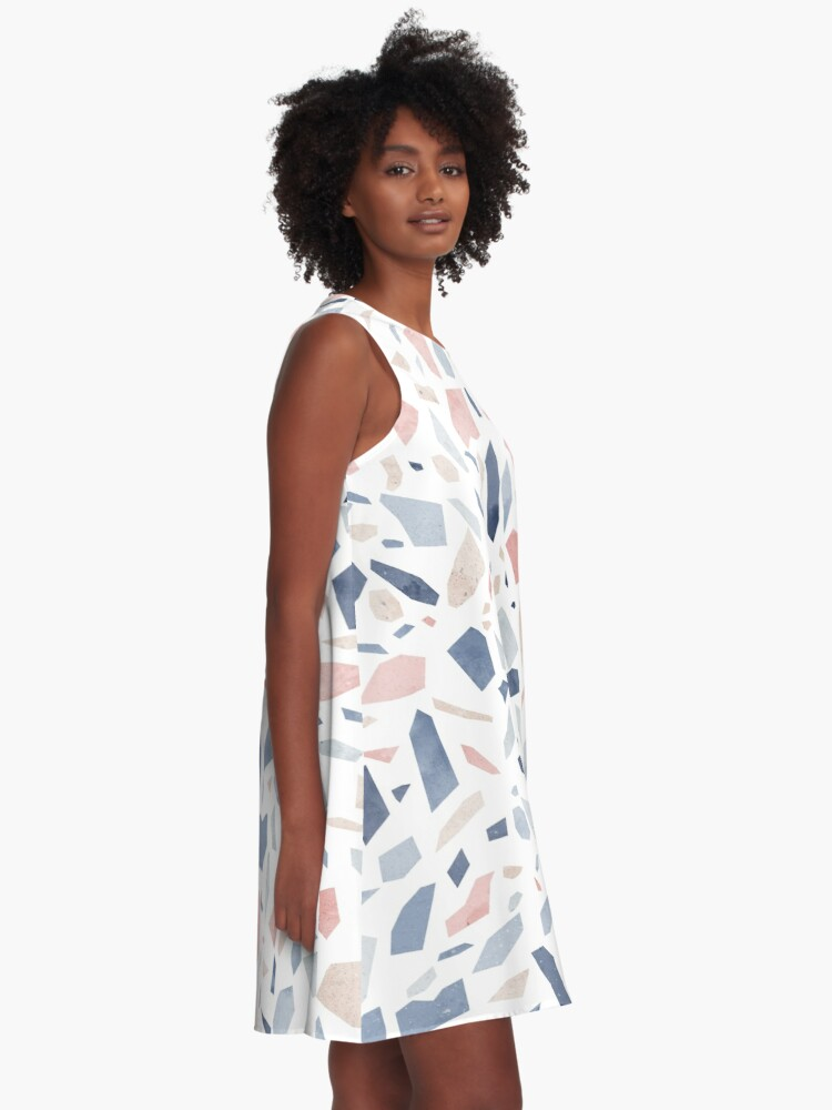 Alternate view of Terrazzo vintage pastel blue pink A-Line Dress