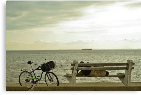sleeping. bench. seaside by rafaj