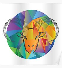 colorful illustration with goat head on a polygonal  background Poster