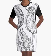 tulip line pattern Graphic T-Shirt Dress