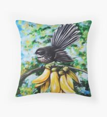 Fantail in Kowhai Blooms Throw Pillow
