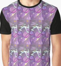 Saturn and ship in purple Graphic T-Shirt