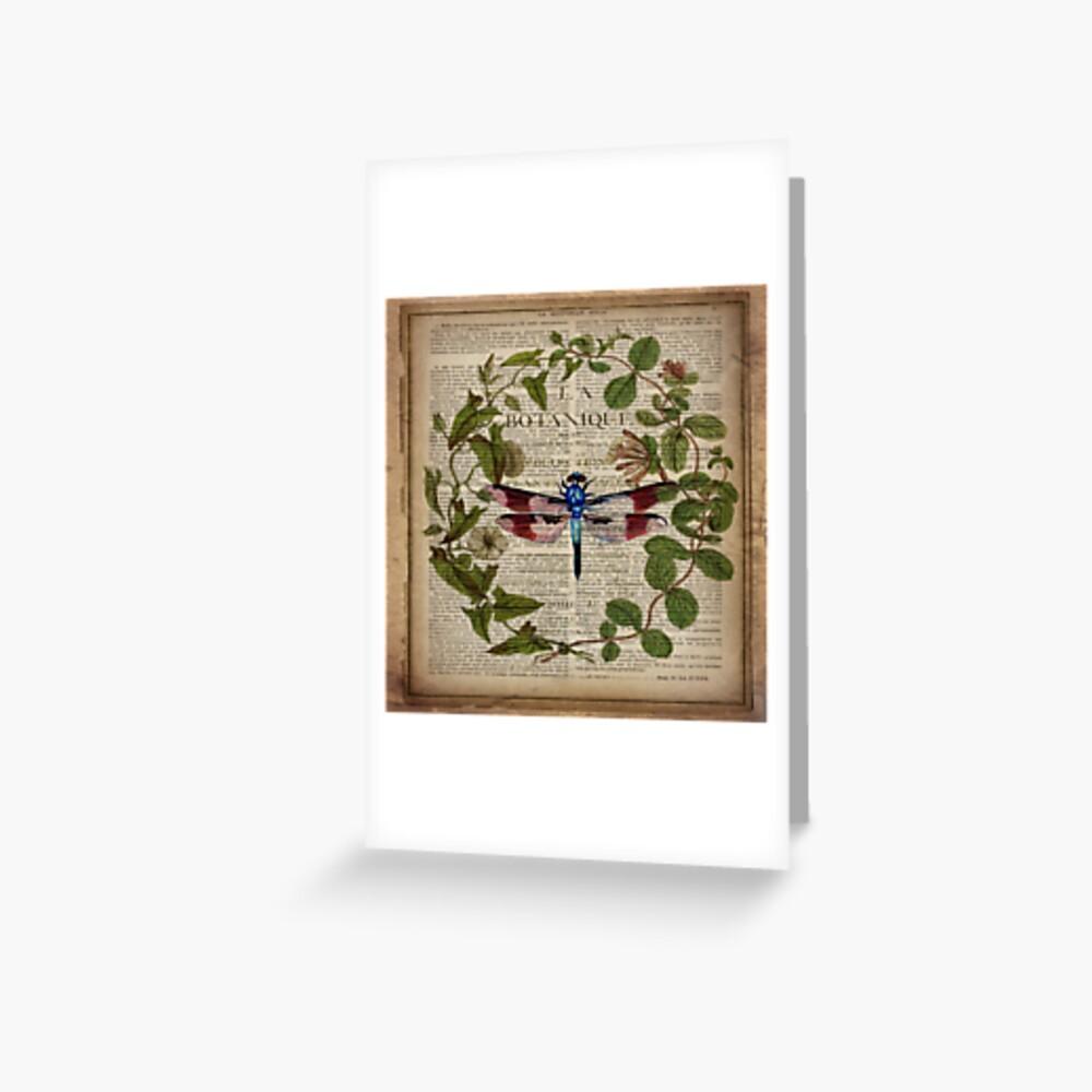 französische Libelle der modernen Blätter botanische Kunstweinlese Grußkarte