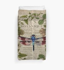 modern leaves botanical art vintage french dragonfly Duvet Cover