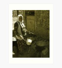 Turkish Village Woman Cooking Art Print