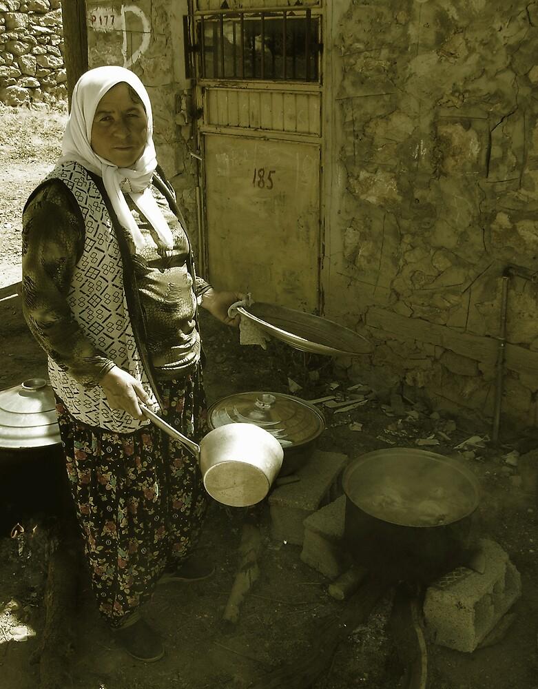 Turkish Village Woman Cooking by Joshua Wentz