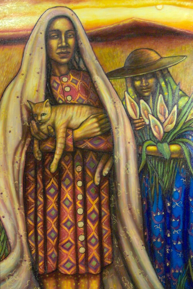 Two Women with Cat by Eleanor Day