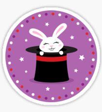 Rabbit in magicians hat round sticker Sticker