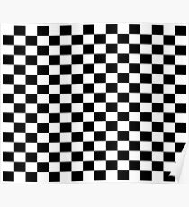 Small Black White Check Motorsport Race Flag Checkered Skirt Pillow Poster