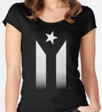 Puerto Rico Black & White Protest Flag Women's Fitted Scoop T-Shirt