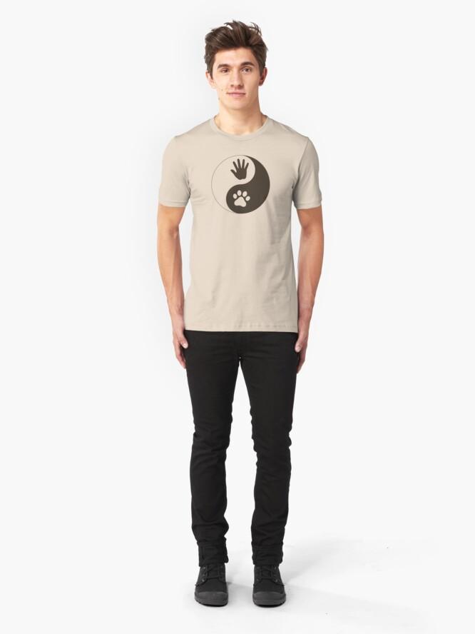 Alternate view of Yin Yang Hand Paw Slim Fit T-Shirt