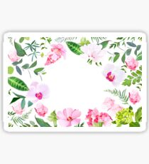 Exotic tropical round floral banner Sticker