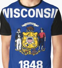 Wisconsin USA State Flag Milwaukee Bedspread T-Shirt Sticker Graphic T-Shirt