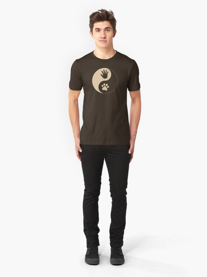 Alternate view of Yin Yang Hand Paw Slim Fit T-Shirt