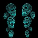 Neon Skulls - Large Blue Skulls by Digital Meat