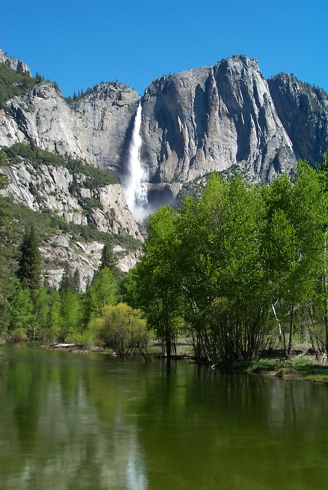 Waterfall across the lake - Yosemite by StudioN