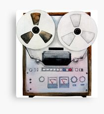 Watercolor reel tape recorder Canvas Print