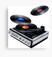 Watercolor vinyl turntable and records Canvas Print