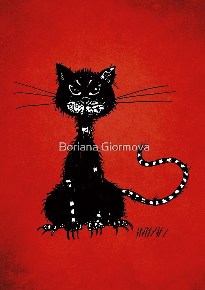 Red Ragged Evil Black Cat by Boriana Giormova