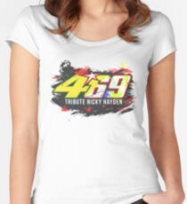 Valentino Rossi Tributes to Nicky Hayden #46 #69 Women's Fitted Scoop T-Shirt