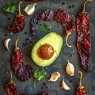 avocado, peppers, garlic and cilantro by alan shapiro