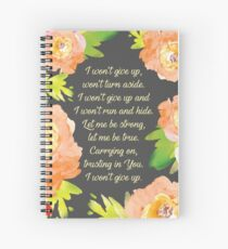 Never Give Up (Peach Floral on Black) Spiral Notebook