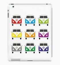 Colourful VW split screen camper vans iPad Case/Skin