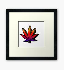 Trippy Weed Leaf Framed Print