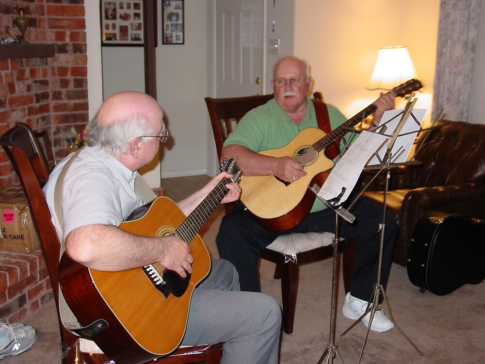 Old guys playing guitar by Ionn