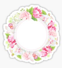 Spring floral vector round card with pink and white hydrangea Sticker