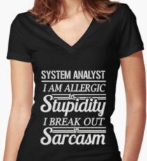 SYSTEM ANALYST Women's Fitted V-Neck T-Shirt