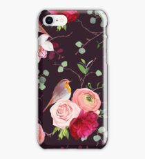 Dark natural vector seamless pattern with robin birds and bouquets iPhone Case/Skin
