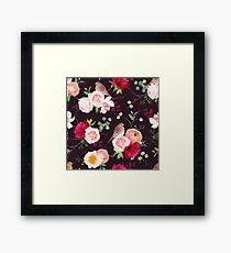 Dark natural vector seamless pattern with robin birds and bouquets Framed Print