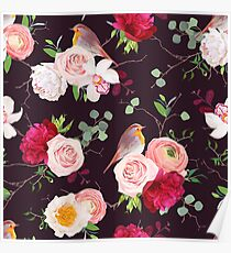 Dark natural vector seamless pattern with robin birds and bouquets Poster