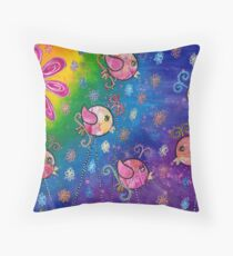 Rainbows and flowers Throw Pillow
