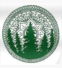 Pine Forest Mandala in Green Poster