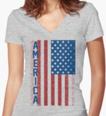 American Freedom Flag Women's Fitted V-Neck T-Shirt