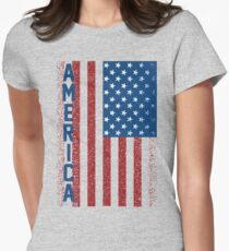 American Freedom Flag Womens Fitted T-Shirt