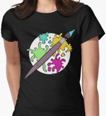 Colourful Paint Splatter Pattern Womens Fitted T-Shirt